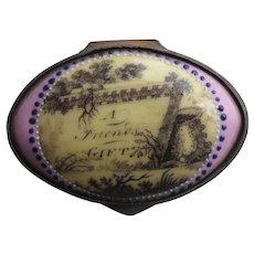 Antique Bilston Battersea Motto Pill Box