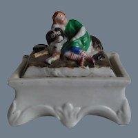 Antique Victorian Child and  Dog Fairing Box