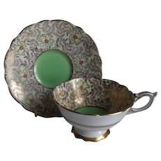 Royal Stafford Green Poppy Chintz Cabinet Teacup and Saucer