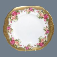 Royal Chelsea Golden Rose Gilt Cake Plate