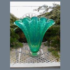 MCM Murano Bullicante Aqua Green Glass Vase