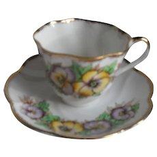 Vintage Salisbury Purple and Yellow Pansy Teacup and Saucer