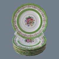Vintage Cauldon England Green Floral Dinner Plate (s) 6 + 3
