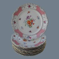 Vintage Bavaria Schumann Pink and Floral Set of 8 Dessert Plates