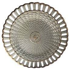 Antique Wedgwood Drabware Basketweave Reticulated Plate