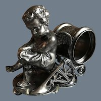 Antique Pairpoint Silverplate Winged Cherub Napkin Ring