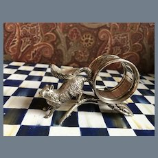Rare Antique Victorian Silver Plate Squirrel Napkin Ring