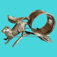 Rare Antique Victorian Silver Plate Squirrel Napkin Ring