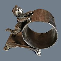 Antique Pairpoint Silverplate Standing Cherub Napkin Ring