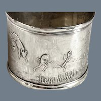 Antique Simons Bros Hey Diddle Diddle Sterling Silver Napkin Ring