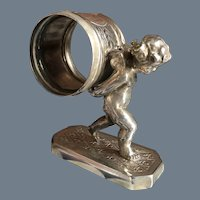Antique Simpson Hall Miller Silver Plated Cherub Angel Napkin Ring