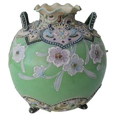 Sweet Round Nippon Moriage Footed Vase