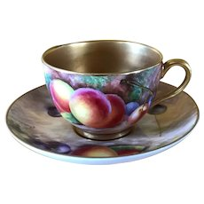 Royal Worcester Fruit Study Gold Encrusted Teacup/Saucer Sgnd Maybury