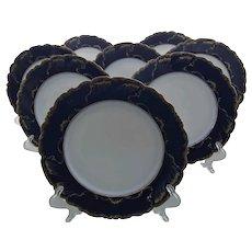 Antique Limoges Raymond Laporte Cobalt Blue Gold Wave Plate (s)