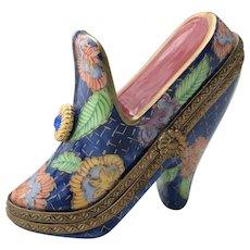Rochard Limoges Jewel High Heel Shoe Pill Trinket Box