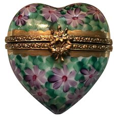 Vintage Rochard Limoges Heart and Violets Pill Box