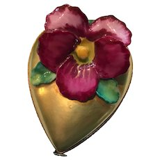 Exquisite Chamart Limoges 24 kt Gold Heart Pansy Pill Box