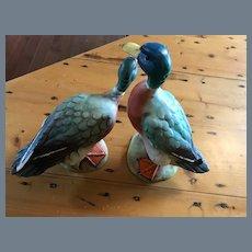 Vintage Pair of Ceramic Italy Numbered Duck Figurines