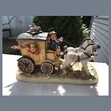 Rare Hummel Goebel Fond Goodbye Coach Girls Wave Horses Figurine