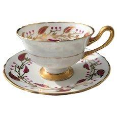 Vintage Shelley Red Laurel Leaf Berry Teacup and Saucer 13577