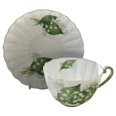 Pretty Shelley Lily of the Valley Teacup and Saucer 13822
