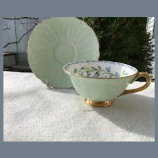 Shelley Harebell Oleander Mint Green Teacup and Saucer 13577/53