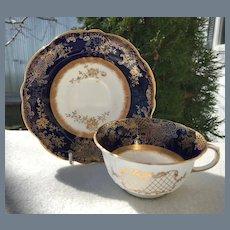 Antique Aynsley Cobalt Gold Teacup and Saucer 12900