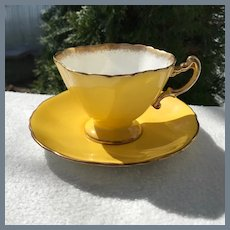 Beautiful Hammersley Quatrefoil Yellow Teacup and Saucer
