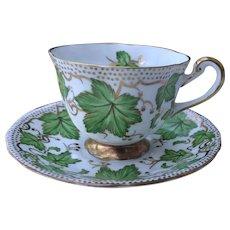 Vintage Royal Chelsea Green Maple Leaf Teacup and Saucer