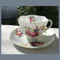 Charming Shelley Floral Spray Dainty Green Teacup and Saucer 13240