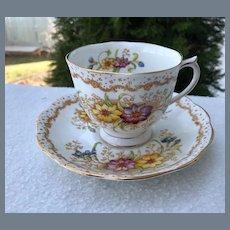 Vintage Royal Albert Gem Floral Pattern Teacup and Saucer