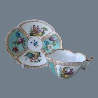 Beautiful Meissen Augustus Rex Figural Scenes Teacup and Saucer