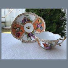 Stunning Meissen Augustus Rex Figural Scenes Teacup and Saucer