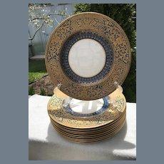 Antique Royal Worcester Teal Blue Gold Encrusted Dinner Plates (10)