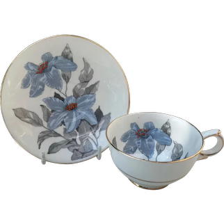 Clarence England Bone China Blue Orchid Demitasse Cup and Saucer