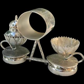 Antique Meriden Co Silverplate Waterlily Pad Combination Set