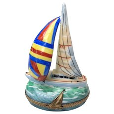 Limoges Figural Signed Sailboat Pill Trinket Box