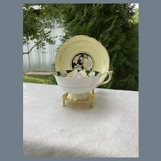 Paragon DW Yellow Wild Rose on Black Teacup and Saucer G 7658