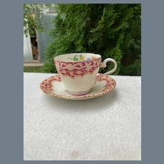 Sweet Aynsley Floral Burgundy Demitasse Cup and Saucer 7796