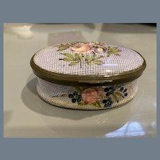 Antique Bilston Battersea Floral Petit Point Pill Box
