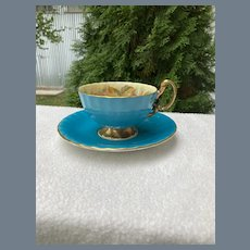 Aynsley Orchard Fruit Turquoise Teacup and Saucer Jones