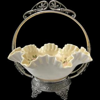 Antique Simpson Hall Miller Quadruple Silverplate Bride's Basket
