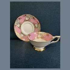 Royal Stafford Pink and Gold Floral Cabinet Teacup and Saucer 8706