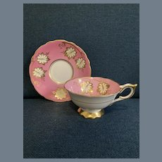 Royal Stafford Pink and Gold Foliage Cabinet Teacup and Saucer 8512