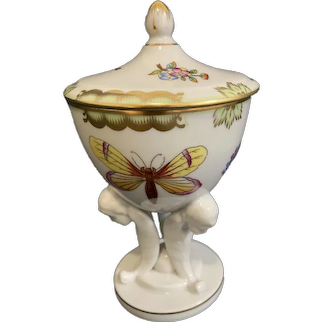 Rare Herend Queen Victoria Candy Dish Winged Angel Base