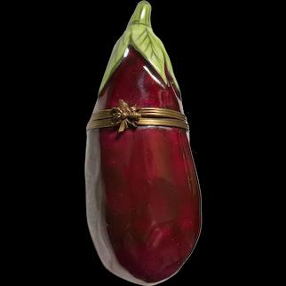 Vintage Chamart Limoges Eggplant Trinket Pill Box