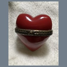 Charming Porcelain Red Heart Pill Box