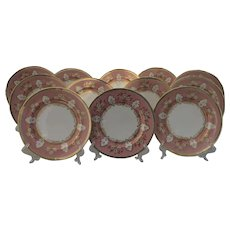 Aynsley Pink and Gold Foliage Dinner Plates (12) 8089
