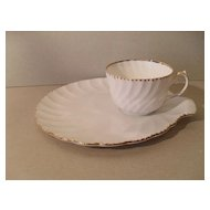 Gladstone 'Old Grecian Flute' White/Gold Teacup Tennis Set