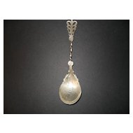 Ornate Antique Sterling Silver Sauce Spoon